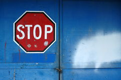 Stop Sign On An Abandoned Building Stock Photography