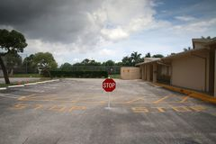 Stop Sign in Parking Lot Stock Photography