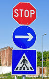 Stop sign at the pedestrian crossing Stock Photos