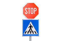 Stop sign with a pedestrian crossing Royalty Free Stock Image