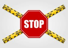 Stop Sign and Police line do not cross tape isolated on white background. Vector illustration vector illustration