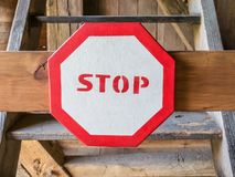 Stop sign prohibiting entry of stairs royalty free stock photography