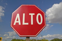 A stop sign reads Alto in the Yucatan Peninsula, Mexico Royalty Free Stock Image
