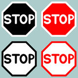 Stop sign red black white icon. Royalty Free Stock Photo