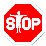 Stop sign. Red sign stop with boy as letter t Stock Photo