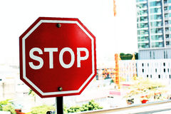 Stop sign. Red stop pole sign in Thailand Stock Photo
