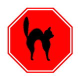 Stop sign. Red stop sign with unlucky black cat, halloween and misfortune motif Royalty Free Stock Images