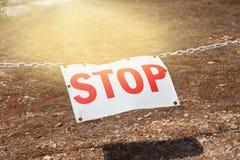Stop sign restricting entry. Horizontal shot Stock Image