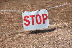 Stop sign restricting entry. Horizontal shot Stock Images