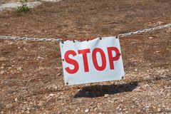 Stop sign restricting entry. Horizontal shot Royalty Free Stock Images