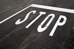 Stop sign on the road Royalty Free Stock Photos