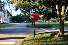 Stop sign. At the road in Houston royalty free stock photos