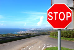 Stop sign on the road on Sao Miguel island, Azores Royalty Free Stock Image