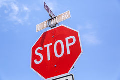 Stop sign route 66 stock photos