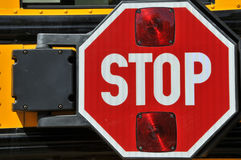 Stop sign on a school bus Royalty Free Stock Photography