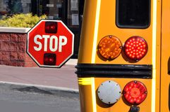 Stop sign on a scool bus. This is a detailed view of a stop sign on a school bus Royalty Free Stock Photo