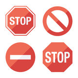 Stop sign, set. Flat design. Stock Photos
