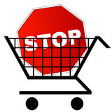 Stop sign in shopping cart Stock Photography