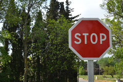 Stop sign. In side position Stock Photo