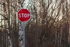 Stop sign on the side of the road at the entrance to the city royalty free stock photo