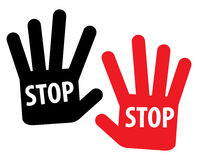 Stop sign. Simple illustration of stop hand - vector royalty free illustration