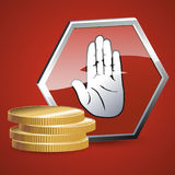 A stop sign and a stack of coins. In the illustration there is a pile of gold coins and a sign with a squirrel in the palm. The symbol symbolizes the Stop symbol Royalty Free Stock Photography