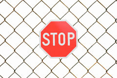 Stop sign and steel fence isolated on a white background Stock Images