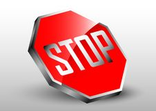 Stop sign three dimension effect. Design element of three dimension object with concept Royalty Free Stock Photo