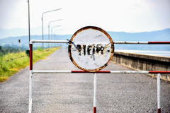 Stop sign. To secure from various dangers.Show restricted area Stock Photo