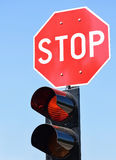 Stop sign and traffic lights Stock Photography