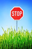 Stop sign, traffic symbol stock images
