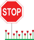 Stop Sign Tulips Stock Photo