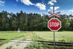 Stop Sign on Unguarded Rail Road. Stock Images
