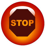 Stop sign web button or icon Royalty Free Stock Image