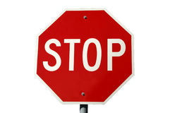 Stop Sign on White Stock Photography
