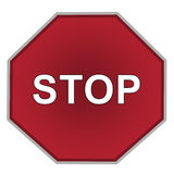 Stop sign on white background English stock photography