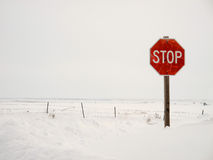 Stop Sign in Winter Royalty Free Stock Images