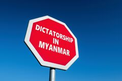 Free Stop Sign With DICTATORSHIP IN MYANMAR Text To Change The Results Of Military Coup In The Country Stock Photos - 210282403