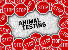 Stop sign and word animal testing Royalty Free Stock Photos