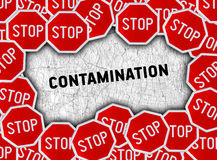 Stop sign and word contamination. Close Stock Images
