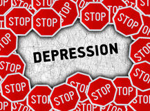 Stop sign and word depression Stock Photography