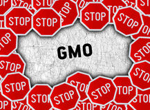 Stop sign and word gmo stock photography