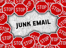 Stop sign and word junk email Stock Image