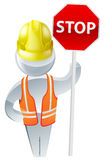Stop sign workman Royalty Free Stock Photography