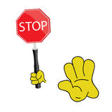 Stop sign with yellow hand vector Stock Photos