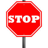 Stop Signal. Traffic stop sign graphic isolated on white Royalty Free Stock Photo
