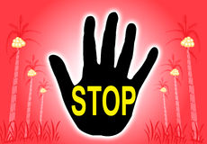 Stop signal. The stop sign text in the hand with tree background illustration Stock Image
