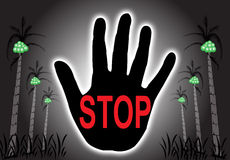 Stop signal. The stop sign text in the hand with tree background illustration Royalty Free Stock Photos