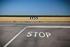 Stop signal near the crossroad Stock Photo