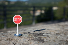 Stop signal. On a wall Royalty Free Stock Photography